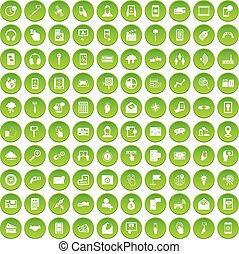 100 mobile icons set green - 100 mobile icons set in green...