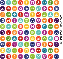 100 adult games icons set color - 100 adult games icons set...