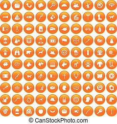 100 dog icons set orange