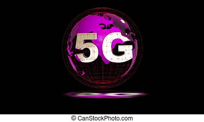 The 5g symbols rotate inside the earth model, the video...