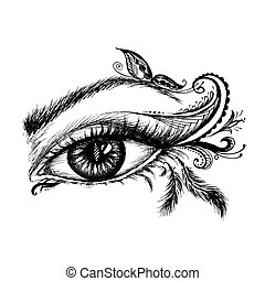 Eye hand drawn  with doodle make up