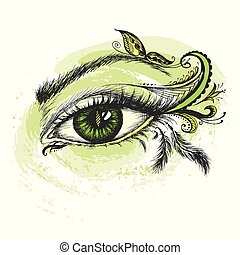 Eye hand drawn  with doodle make up.