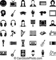Play music icons set, simple style