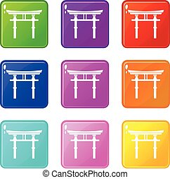 Japanese torii set 9 - Japanese torii icons of 9 color set...