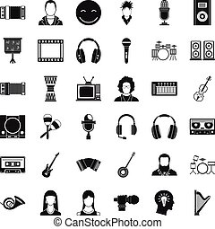 Music icons set, simple style