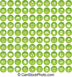 100 network icons set green - 100 network icons set in green...