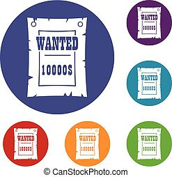 Vintage wanted poster icons set in flat circle red, blue and...
