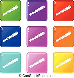 Spyglass set 9 - Spyglass icons of 9 color set isolated...