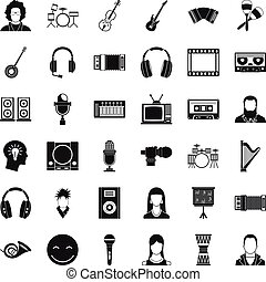 Musical instrument icons set, simple style