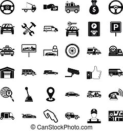 Rent car icons set, simple style