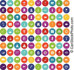 100 asian icons set color - 100 asian icons set in different...