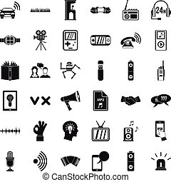 Stereo music icons set, simple style