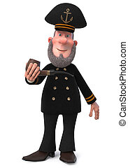 3d illustration sea captain with Smoking pipe