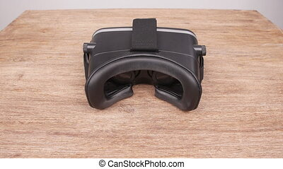 Wearing virtual reality glasses from the first person - Man...