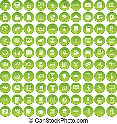 100 website icons set green - 100 website icons set in green...