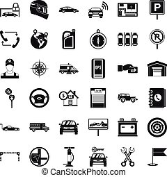 Auto service icons set, simple style