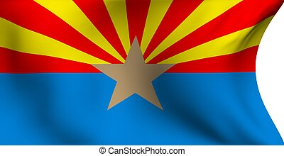Flag of Arizona, USA against white background. Close up.