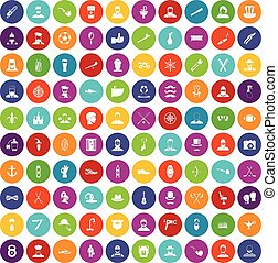 100 beard icons set color - 100 beard icons set in different...