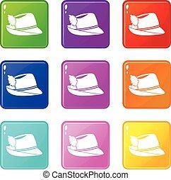 Irish hat set 9 - Irish hat icons of 9 color set isolated...