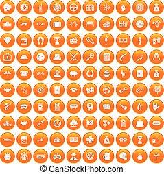 100 gambling icons set orange - 100 gambling icons set in...