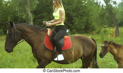 athletic young girl in she rides a horse and holding a leash