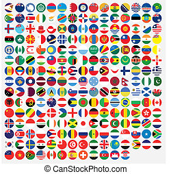 Round Shaped Illustrated Flags of the World
