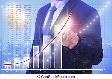 Business Man stock price - A man in the suit shows with a...