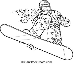 snowboard - Vector line drawing