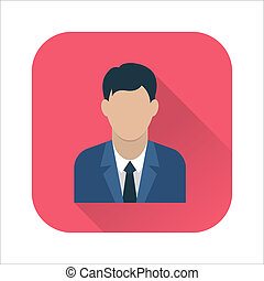 Businessman flat icon. Man in business suit. Avatar of...
