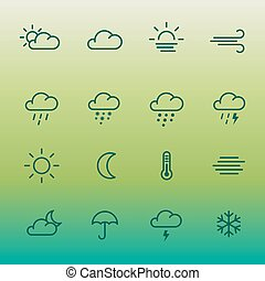 Lines weather forcast Icon set on green gradient. Simple...