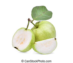 whole and half guava fruit with green leaf isolated on white...