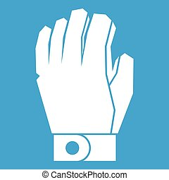 Hockey glove icon white isolated on blue background vector...