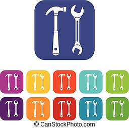 Hammer and wrench icons set
