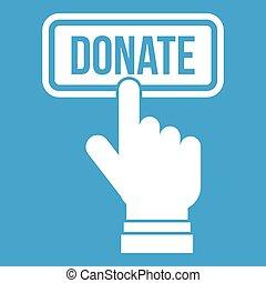 Hand presses button to donate icon white