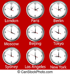 Clocks showing the time around the world. Time zone.