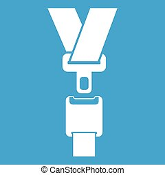 Safety belt icon white isolated on blue background vector...
