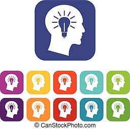 Light bulb inside head icons set