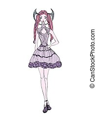 Gothic girl in dress. Vector ilustration, isolated on white background.