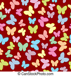 Seamless pattern with butterflies in pastel tones