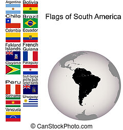 Flags of South America, the complete set