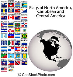 Flags of North America, Carribean and Central America, the...