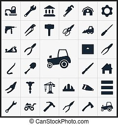 Vector Illustration Set Of Simple Architecture Icons. Elements Wrench, Hammer, Clippers And Other Synonyms Adjustable, Bulldozer And Hacksaw.