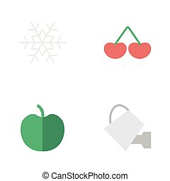 Vector Illustration Set Of Simple Garden Icons. Elements...