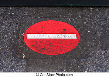no entry sign - red no entry sign painted on a sidewalk