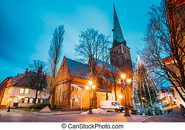 Riga, Latvia. Cathedral Basilica Of St. James, Pyramidal...