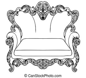 Baroque armchair with luxurious ornaments. Vector French...