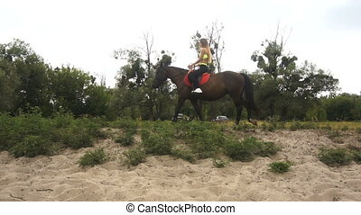 beautiful slender girl riding her horse on nature