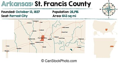Arkansas: St. Francis county - Large and detailed map of...