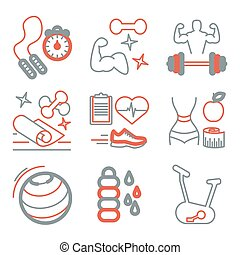 Fitness line art icons for your design