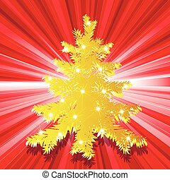 fir tree - illustration, gold new years fir tree on red...
